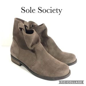 Sole Society tan suede slouch booties 8.5